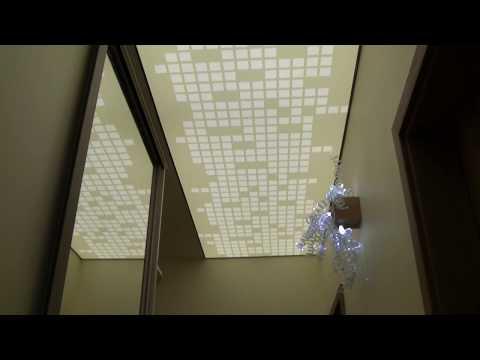 Sufit napinany z nadrukiem-zdjęciem, lampy do korytarza, garderoby, nowoczesne oświetlenie