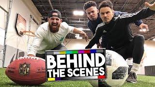 Video DUDE PERFECT: FOOTBALL VS SOCCER TRICK SHOTS! BEHIND THE SCENES! MP3, 3GP, MP4, WEBM, AVI, FLV Oktober 2018
