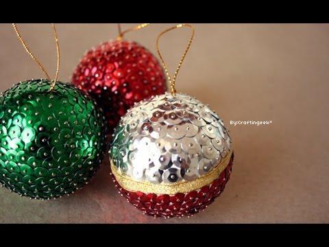 Cómo hacer bolas con lentejuelas para el árbol de Navidad ...