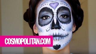 Sugar Skull Makeup Tutorial for Día de Los Muertos | Cosmopolitan - YouTube