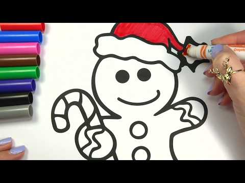 Coloring Gingerbread Man Christmas Coloring Pages Learning Video for Kids Toddlers