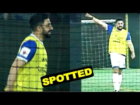 Abhishek Bachchan Spotted Playing Football  At Juhu Ground