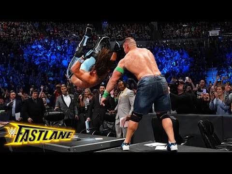 John Cena sends AJ Styles crashing through the announce table: WWE Fastlane 2018 (WWE Network)