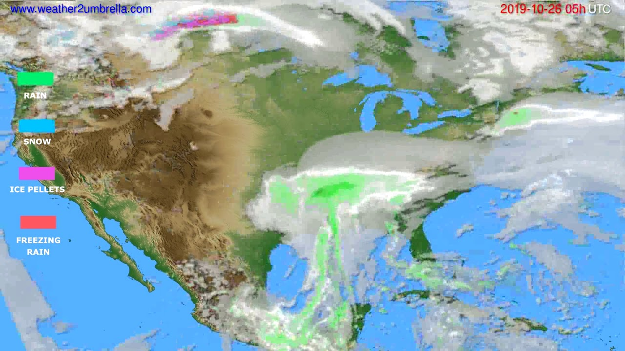 Precipitation forecast USA & Canada // modelrun: 00h UTC 2019-10-25