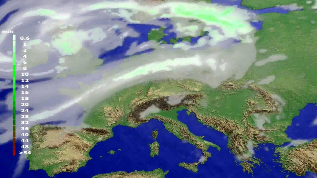 Precipitation forecast Europe 2016-08-01