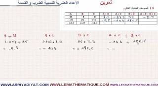 الرياضيات الأولى إعدادي - الأعداد العشرية النسبية الضرب و القسمة : تمرين 3