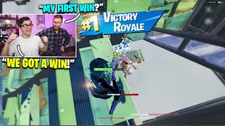 I got my DAD his FIRST WIN on Fortnite! (so happy)