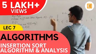 Algorithms Lecture 7 -- Insertion sort algorithm and analysis
