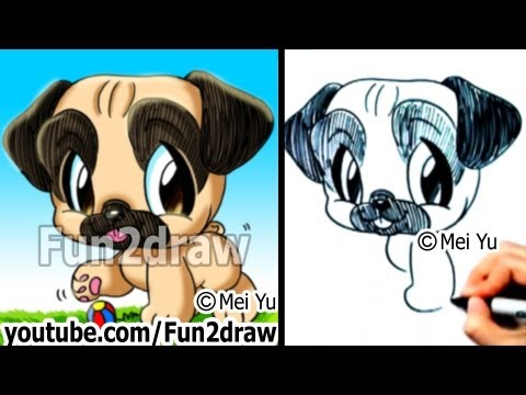 Pug puppy - How to Draw a Dog - Fun Things to Draw - Fun2draw