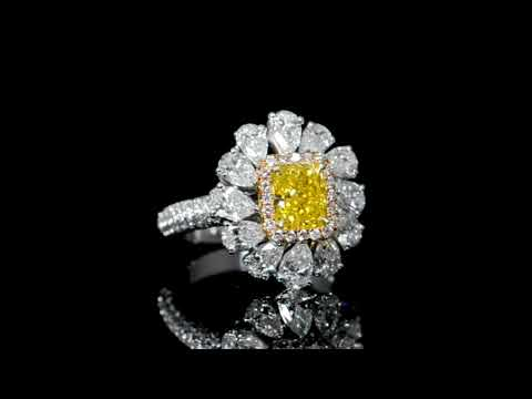 GIA Certified 1.53ct Fancy Vivid Yellow Diamond and Diamond Ring