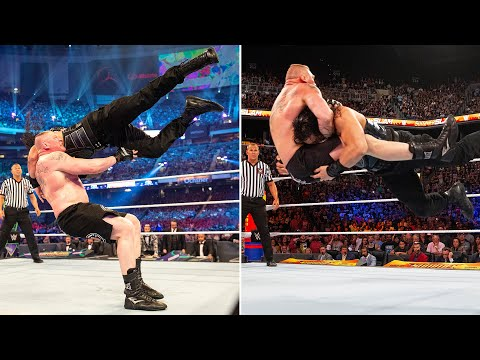 Brock Lesnar and Roman Reigns trade thunderous F-5s and massive Spears