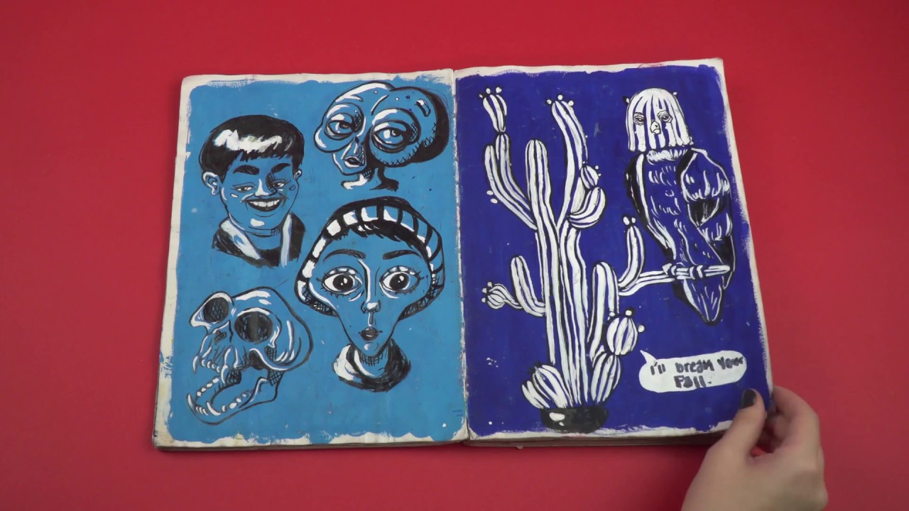 A notebook of blue-toned illustrations of people and animals.