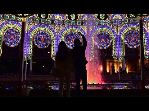 光の回廊鮮やかに 神戸・東遊園地