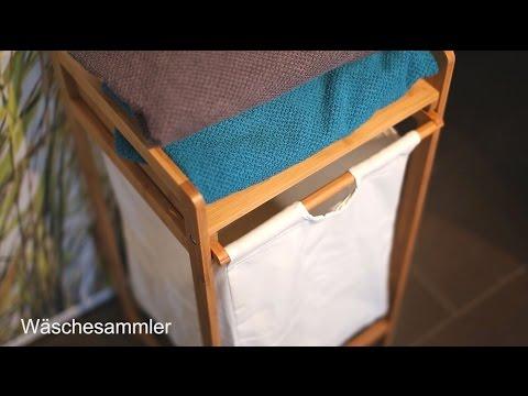 Wäschesammler Bambus mit Ablage
