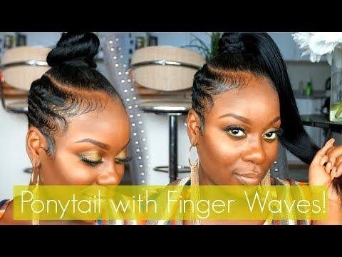 Short hair styles - Easy Ponytail with Finger Waved SidesShort Hair Tutorial!