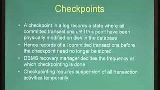 Lecture - 28 Recovery Mechanisms II