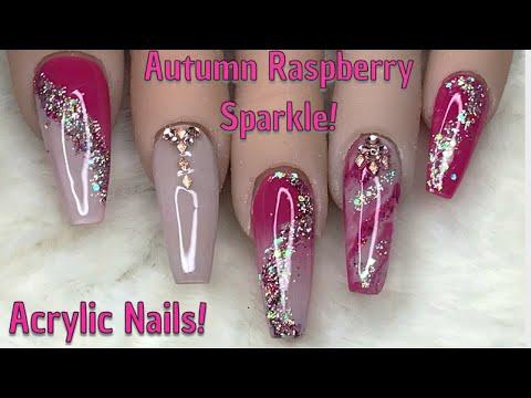 Autumn Raspberry Sparkle  Acrylic Nails  Nail Sugar