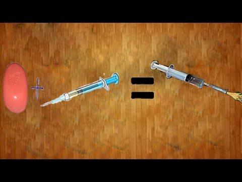 как сделать мини пушку из шприца своими руками How to make a mini gun with a syringe