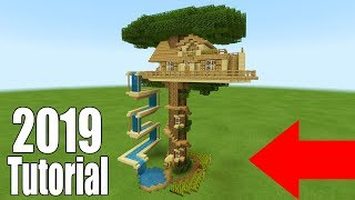 Minecraft Tutorial: How To Make A Ultimate Survival Tree house With a Water Slide 2019