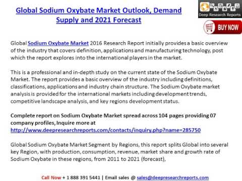 Global Sodium Oxybate Market Outlook, Demand Supply and 2021 Forecast