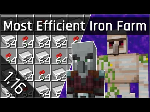 How To Build an Efficient Iron Farm Tutorial | Minecraft Java 1.16 (The Nether Update)