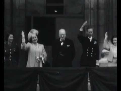 King George VI and Winston Churchill celebrate VE Day