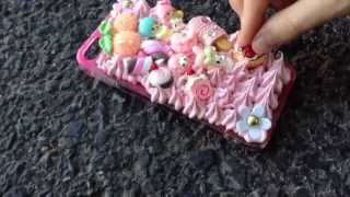 DIY: Decoden Tutorial - Whipped Cream phone case (making a pink sweets case - YouTube