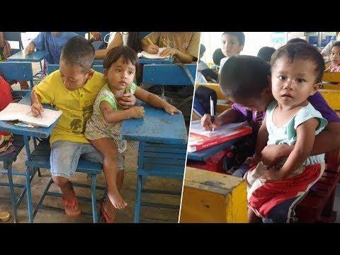 العرب اليوم - سخروا منه لأنه يأخذ معه أخاه الصغير إلى المدرسة ولكنهم ندموا