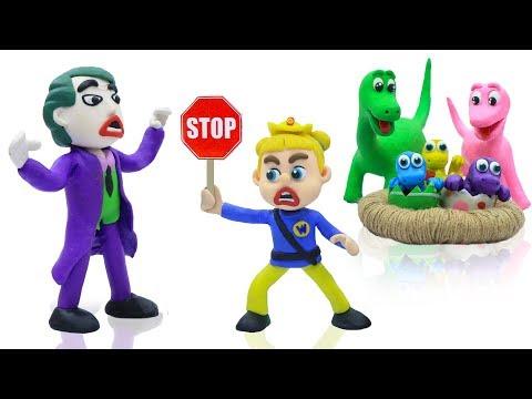 SUPERHERO BABY POLICE SAVES DINOSAUR  Play Doh Cartoons For Kids