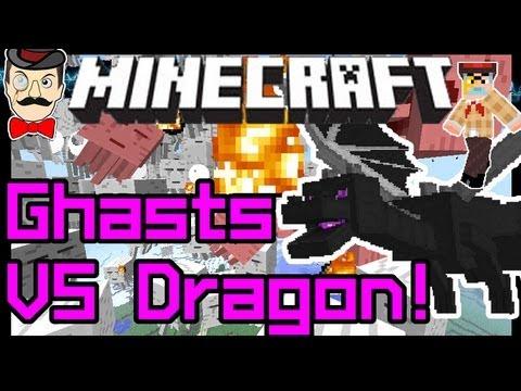Minecraft ENDER DRAGON vs 100 GHASTS Battle !