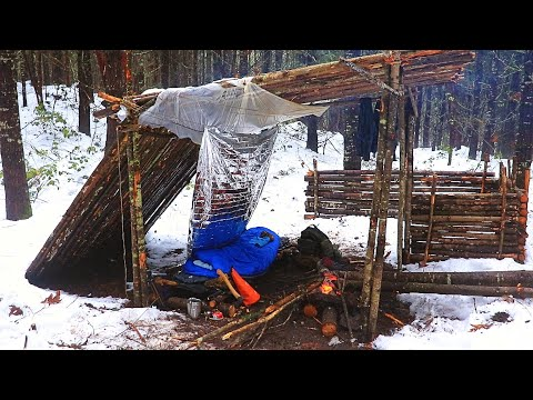 Solo Overnight Winter Bushcraft Camp. The Snow Shanty
