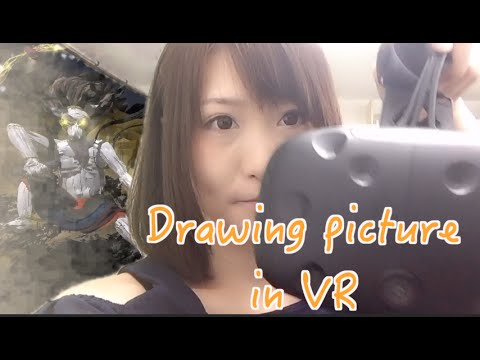 Woman draws a picture in vr.