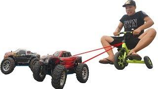 Thử Dùng Xe Đồ Chơi Kéo Người 70KG ( Using toy car to drag people )