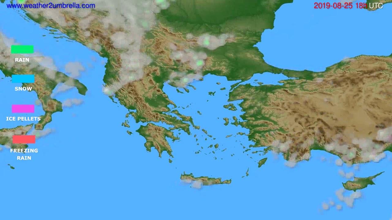 Precipitation forecast Greece // modelrun: 00h UTC 2019-08-23