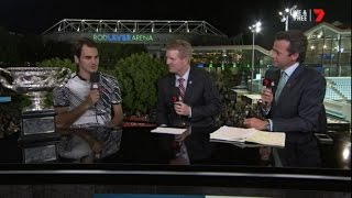 Roger Federer - Australian Open Interview 2017. In the Australian Open Men's Final, Roger defeated Rafael Nadal 6-4 3-6 6-1 3-6 6-3 to win his 18th Grand ...