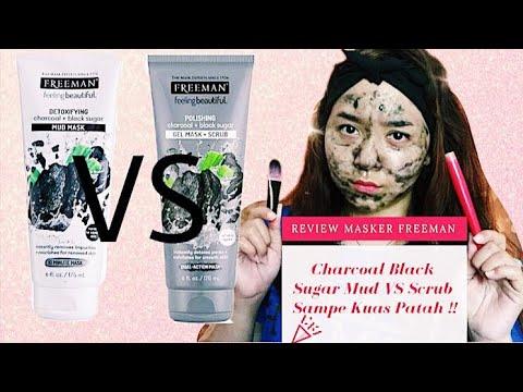 Freeman Masker Review Charcoal Black Sugar Mud VS Scrub   Sampe Kuas Patah !!