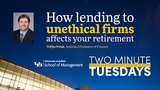YouTube video highlighting School of Management faculty research on unethical firms.