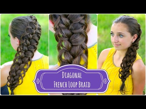 Diagonal French Loop Braid | Braided Hairstyles (видео)