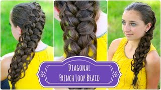 Diagonal French Loop Braid | Braided Hairstyles - YouTube