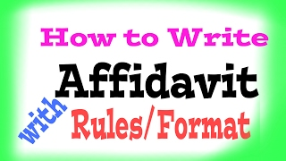 How to write affidavit.Disclaimer: this video related to the law and rules, formate applicable in india.For bail application, civil Revision,  affidavit,  visitwww.youtube.com/c/lawlearningbyanuragroy
