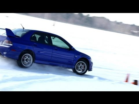 racing tires - http://www.boostedfilms.com?r=YT2013MeganIce Megan races her 2005 Mitsubishi Lancer Evolution 8 (VIII) out on the frozen ice of lake dubay in Wisconsin. Stud...