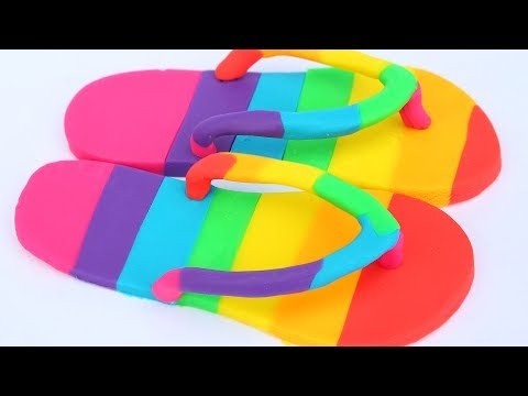 DIY How To Make Play Doh Flip Flop Rainbow Modelling Clay