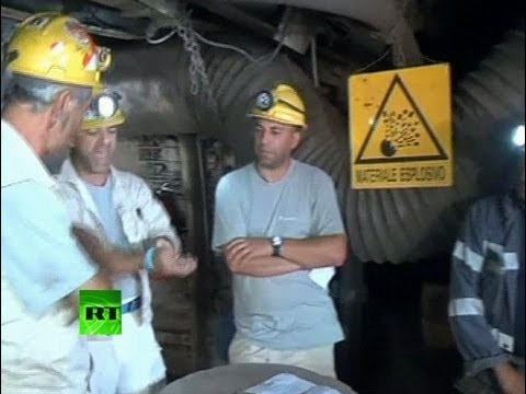 Video: Italian miner slits wrist on live TV to protest mine shutdown