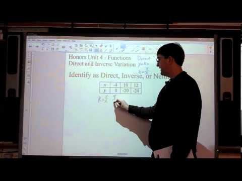 Honors Unit 4 – Functions – Direct and Inverse Variation Video 2 – Examples