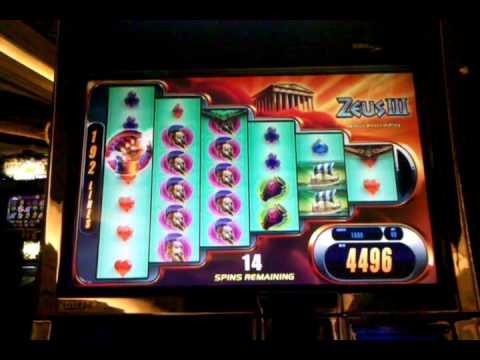 Zeus III 3 slot machine, 25 spin bonus, Monte Carlo Las Vegas, Nov 2012