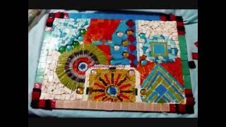 Mosaiquismo. Cuadro con venecitas Técnica mixta. Cuadro egipcio