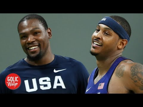 Video: Kevin Durant, Kyrie Irving are reportedly pushing the Nets to sign Carmelo Anthony | Golic and Wingo