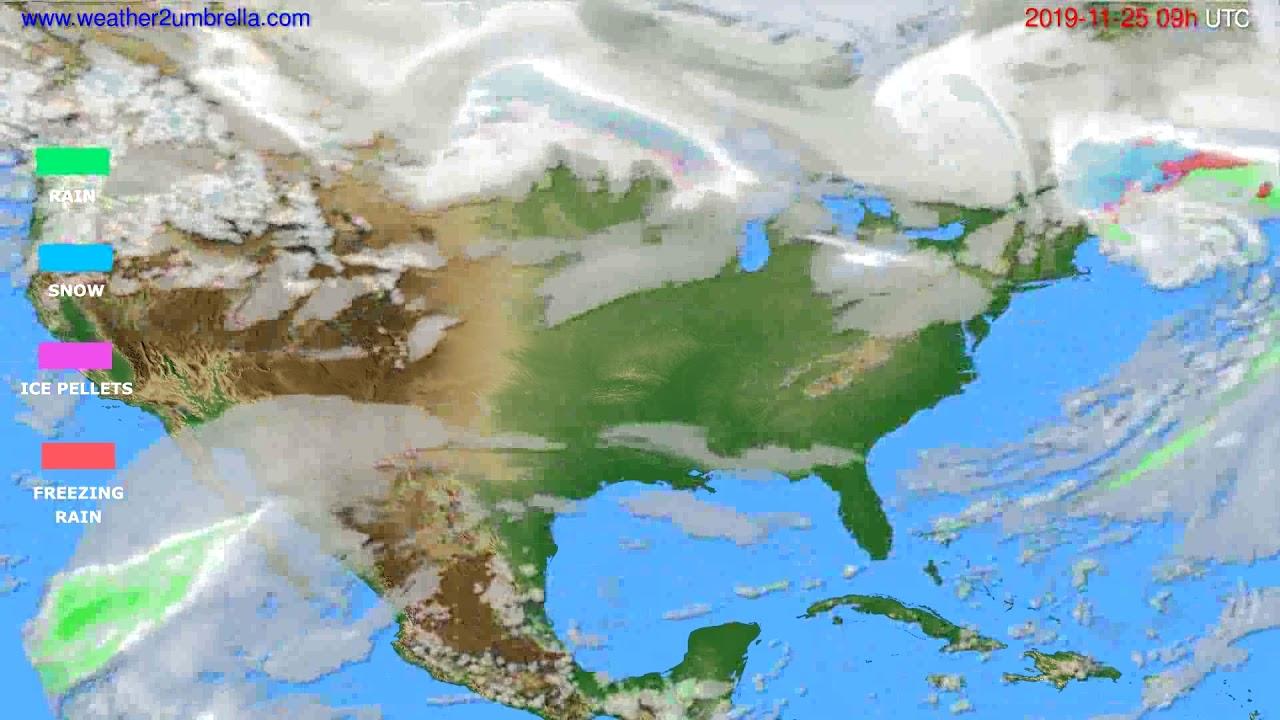 Precipitation forecast USA & Canada // modelrun: 00h UTC 2019-11-24
