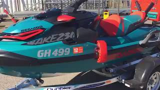 9. GA0599 - 2018 Sea Doo GTX Wake Pro Jet Ski with 2017 Dunbier Jet Ski Trailer