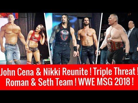 Roman & Seth ! Cena & Nikki Reunite ! Triple Threat TItle Match ! WWE MSG 3/16/2018 Highlights 2018